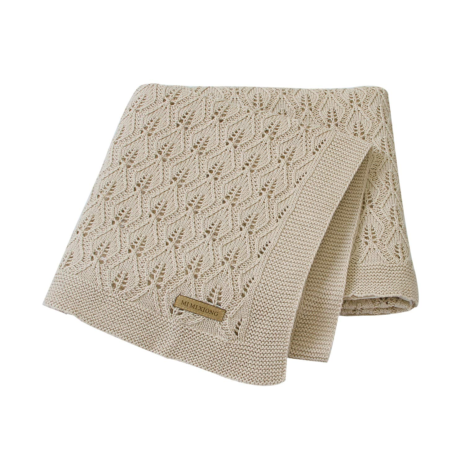 mimixiong 100% Cotton Baby Blanket Knit Cellular Toddler Blankets for Boys and Girls Light Camel 40x30 Inch