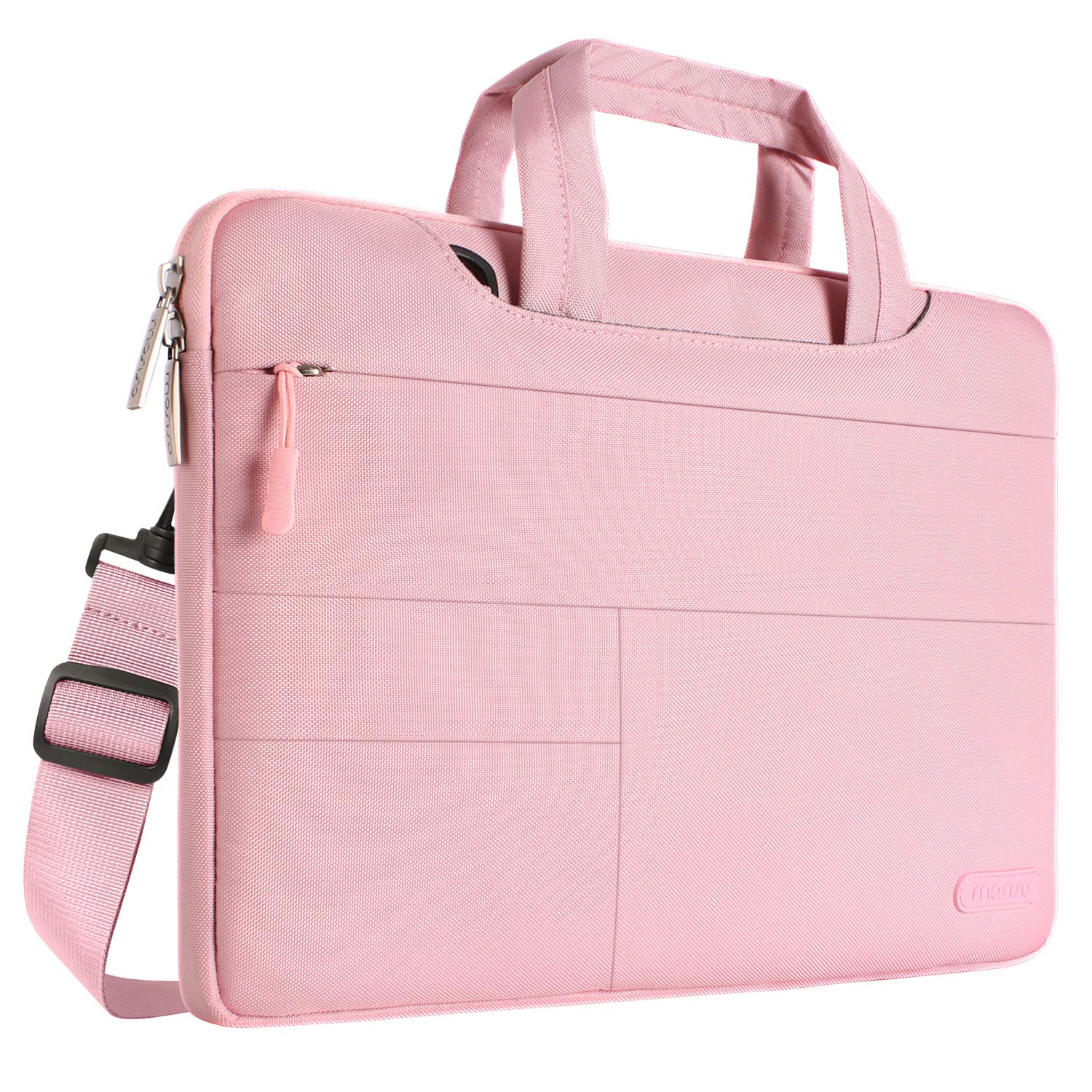 MOSISO Laptop Shoulder Bag Compatible 15-15.6 Inch 2018 2017 2016 MacBook Pro with Touch Bar A1990/A1707, MacBook Pro, Also Compatible 14 Inch Notebook, Polyester Briefcase with Storage Pockets, Pink