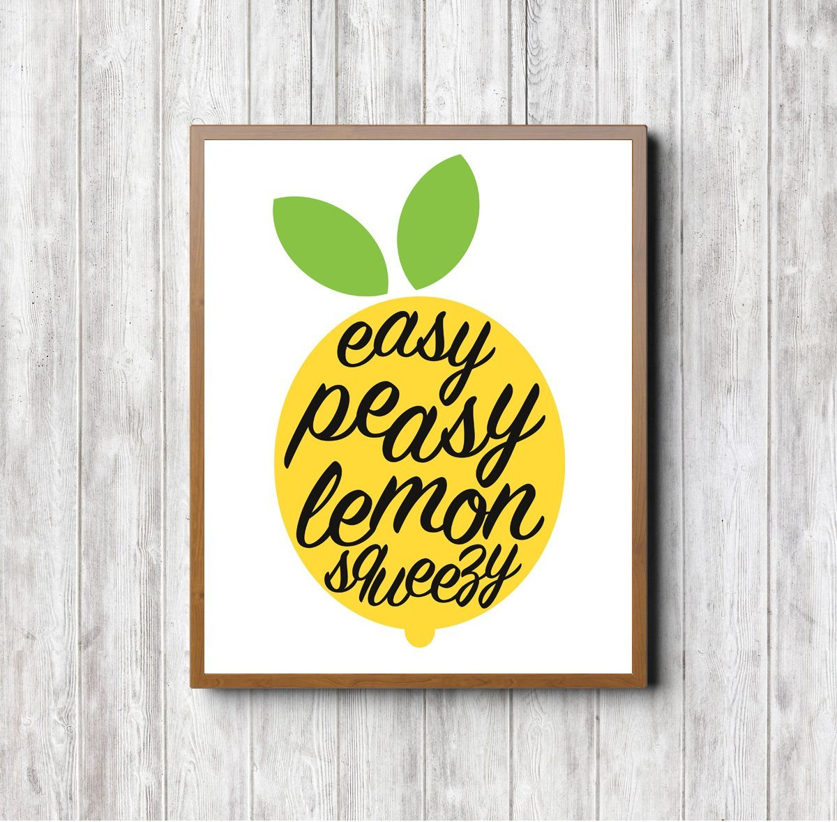 'Easy Peasy Lemon Squeezy' Print. Stylish home, work and kitchen decor, wall art, lemon art, lemon print