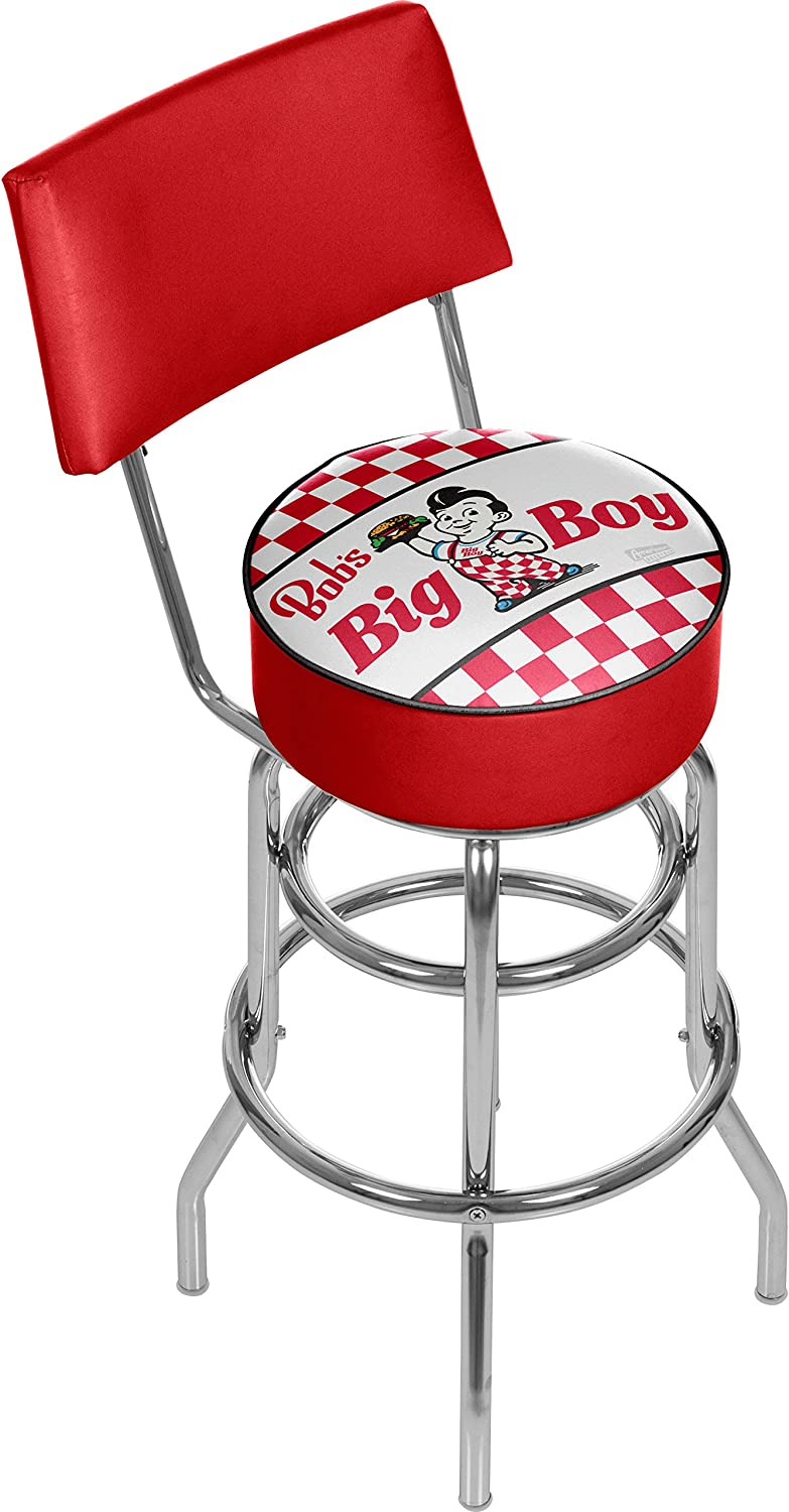 BOB S BIG BOY Checkered Padded Swivel Bar Stool with Back