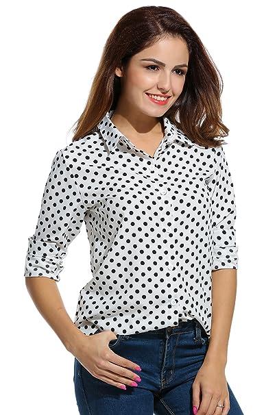 Meaneor - Camisas - para Mujer Blanco Blanco Small
