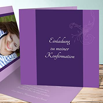 Konfirmationskarten Basteln Sympathie 20 Karten Quadratische Klappkarte 145x145 Inkl Weiße Umschläge Lila