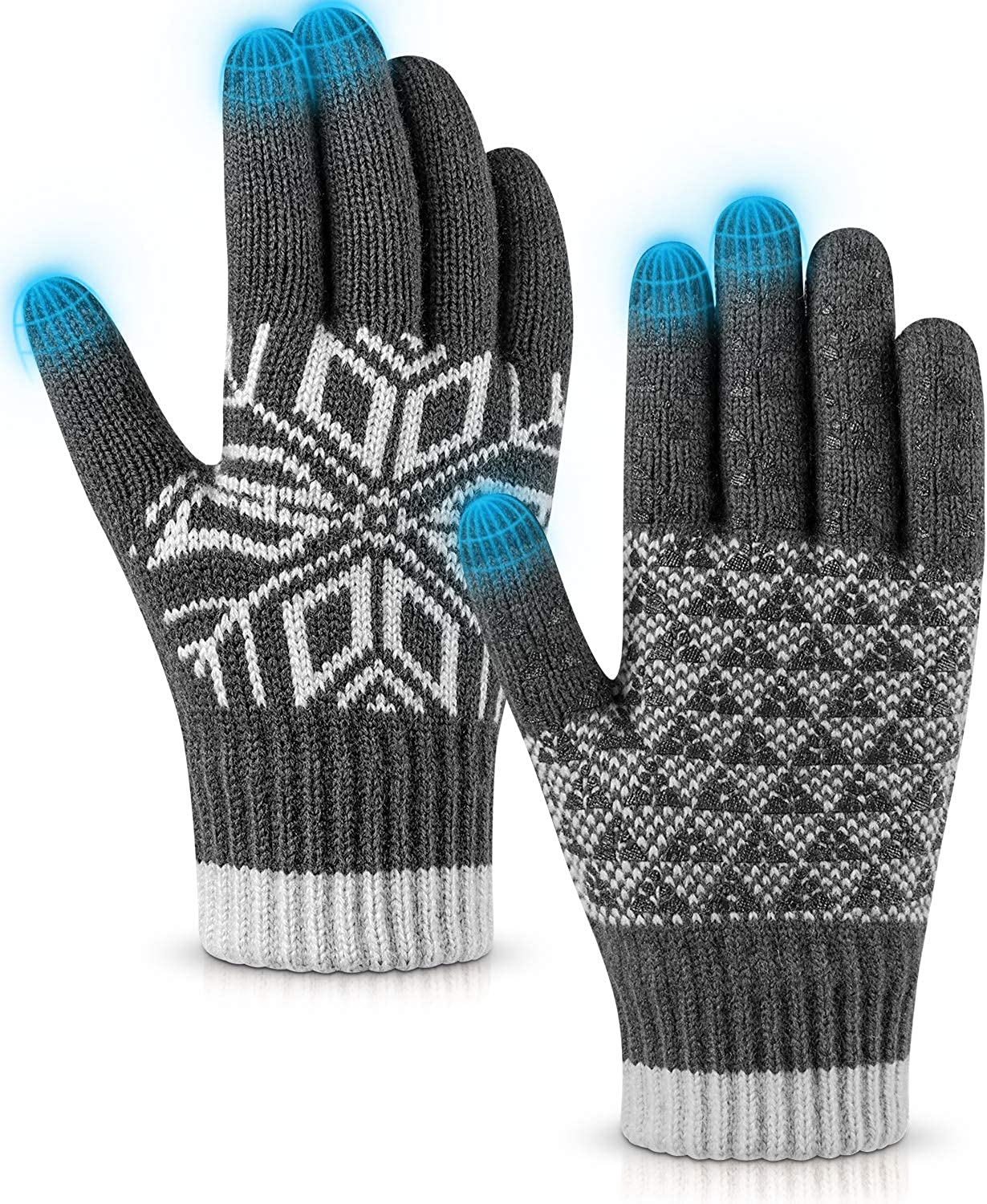 Pvendor Winter Gloves Touch Screen Warm Knit Gloves, Soft Wool Lining Elastic Cuff, Anti-Slip Rubber Design Warm Gloves for Men Women : Clothing