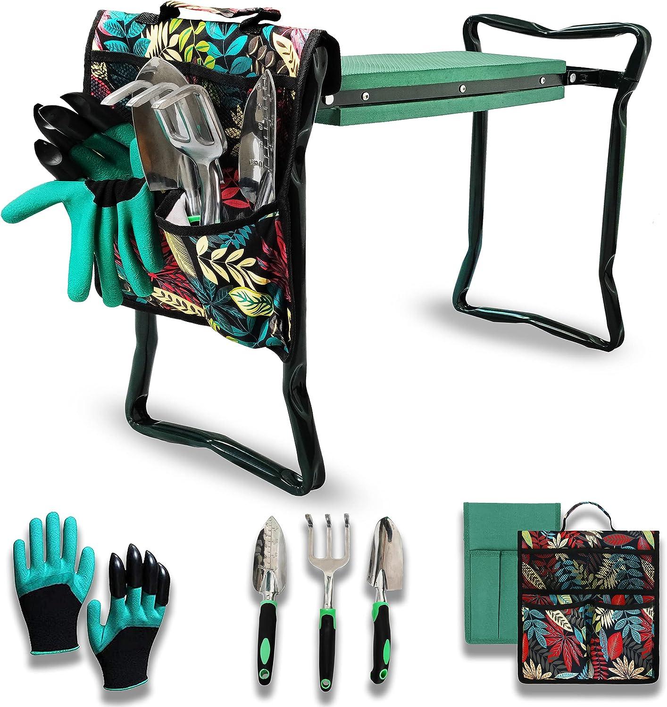 Khirlfor Garden Kneeler and Seat Upgraded Foldable Garden Bench Stool Garden Kneeling Pad Garden Tool Set, Large Printed Tool Bags, 1 Pair of Garden Gloves