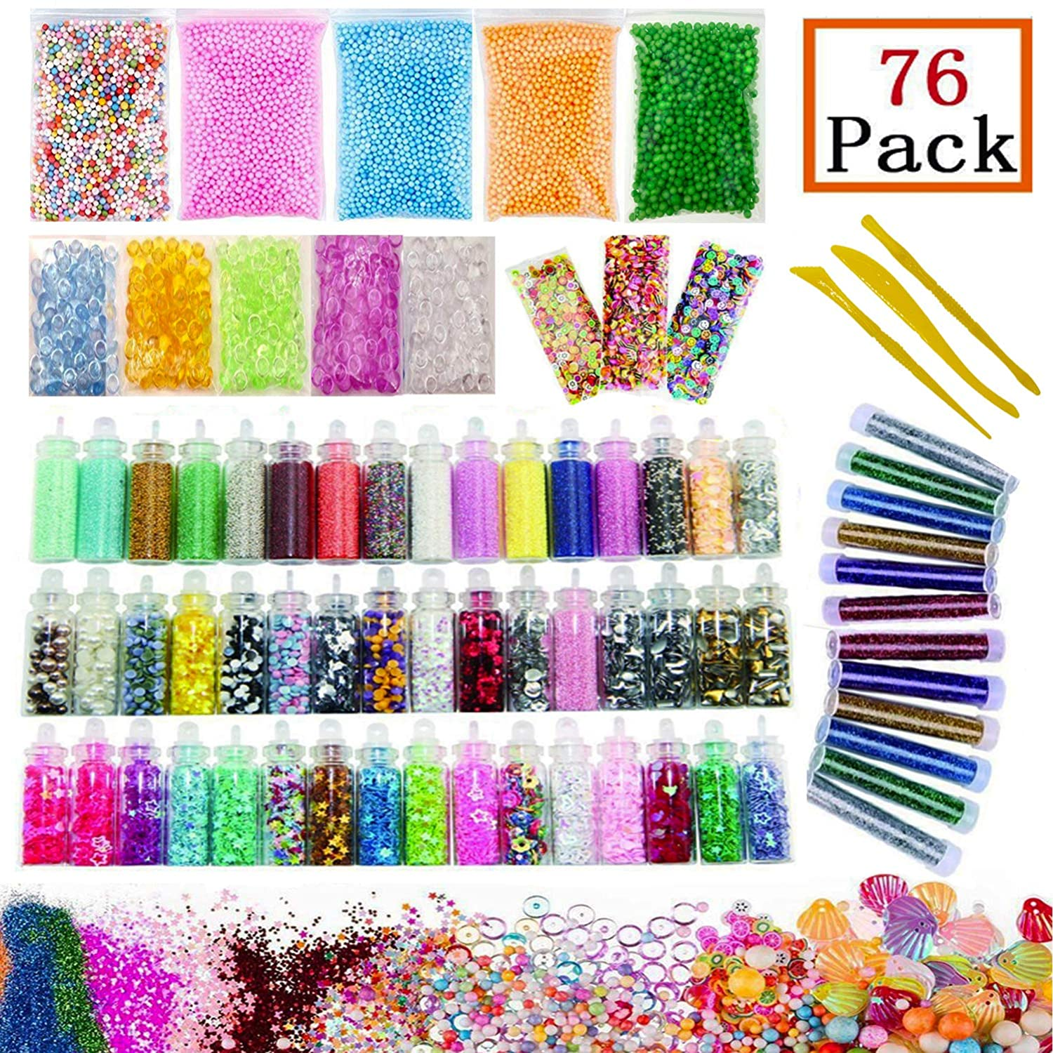 Slime Supplies Kit 76 Packs, Foam Beads, Fishbowl Beads, Glitter Jars, Fruit Slices, Mucus Tool Make Your Own Craft Homemade Sunreal