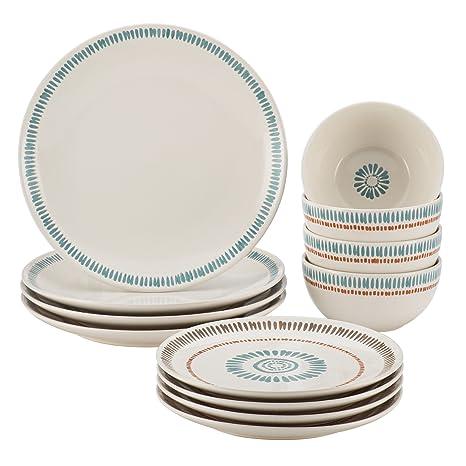 Rachael Ray Cucina Sun Daisy 12-pc. Stoneware Dinnerware Set  sc 1 st  Amazon.com & Amazon.com | Rachael Ray Cucina Sun Daisy 12-pc. Stoneware ...