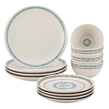 Amazon.com | Rachael Ray Cucina Sun Daisy 12-pc. Stoneware Dinnerware Set Dinnerware Sets  sc 1 st  Amazon.com & Amazon.com | Rachael Ray Cucina Sun Daisy 12-pc. Stoneware ...