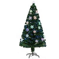 HOMCOM Árbol de Navidad Artificial con Soporte Fibra