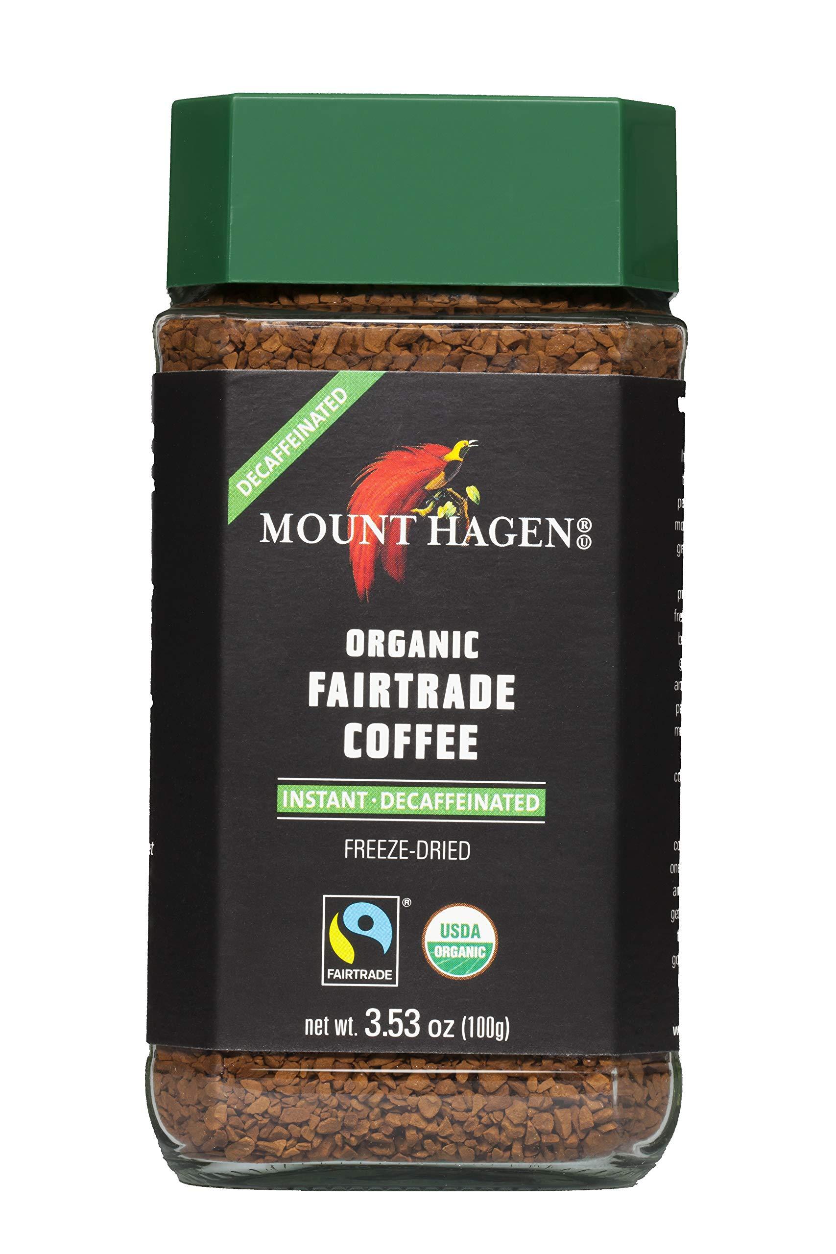 Mount Hagen Organic Freeze Dried Instant Decaf Coffee, 3.53 oz Organic FairTrade Award-Winning House Blend Kosher Decaffeinated