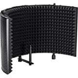 Monoprice Microphone Isolation Shield - Black - Foldable with 3/8in Mic Threaded Mount, High Density Absorbing Foam Front and