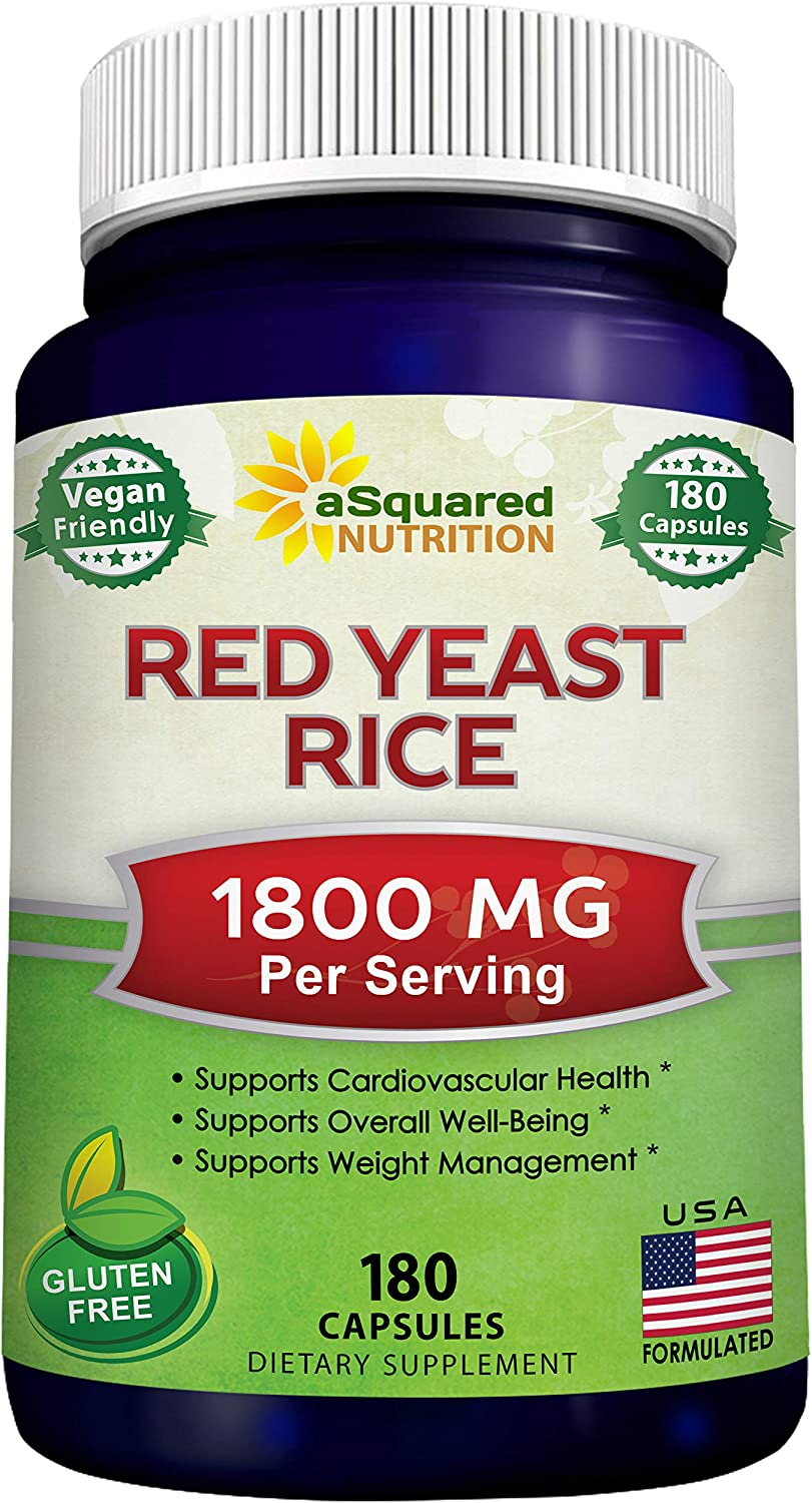 Red Yeast Rice 1800mg – Dietary Supplement Vegan Powder Pills to Support Cardiovascular Health – 180 Veggie Capsules