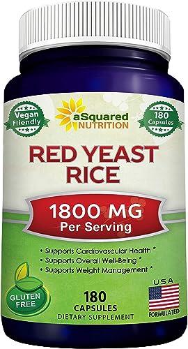 Red Yeast Rice 1800mg – Dietary Supplement Vegan Powder Pills to Support Cardiovascular Health – 180 Veggie Capsules