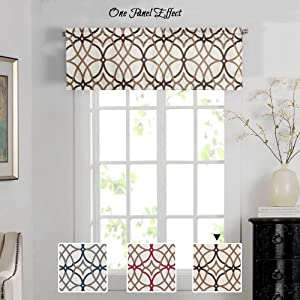 H.VERSAILTEX Energy Saving Curtain Valances for Living Room,Matching with Curtain Panels (Rod Pocket,52 by 18 Inch,Geo in Taupe and Brown)