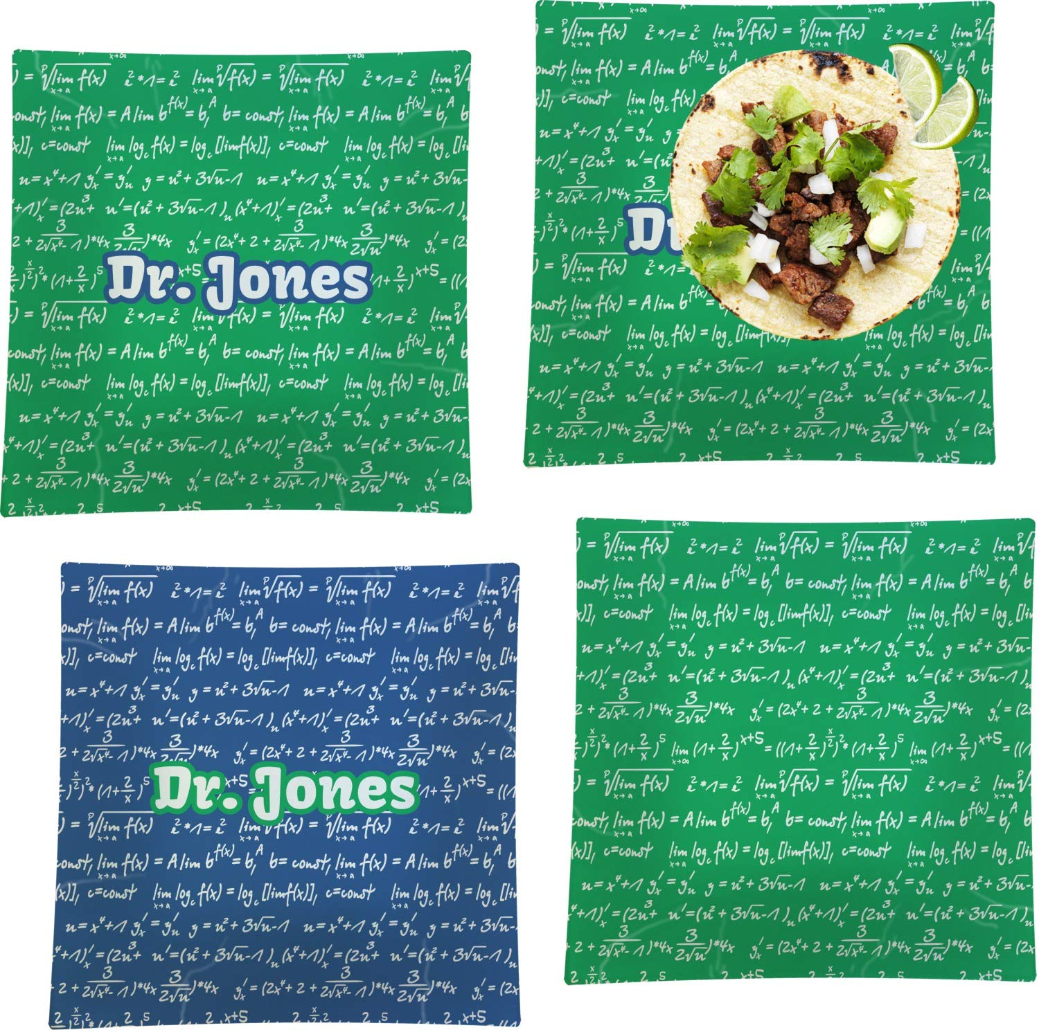Equations Set of 4 Glass Square Lunch/Dinner Plate 9.5'' (Personalized)