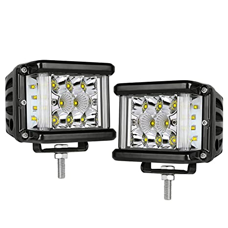 4X 16W Yellow Flush Mount Led Lights Cube Pods SPOT Reverse Front Rear Bumper