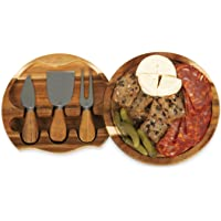 TOSCANA - a Picnic Time brand 879-03-512-000-0 Brie Acacia Wood Cheese Board Set with Cheese Tools