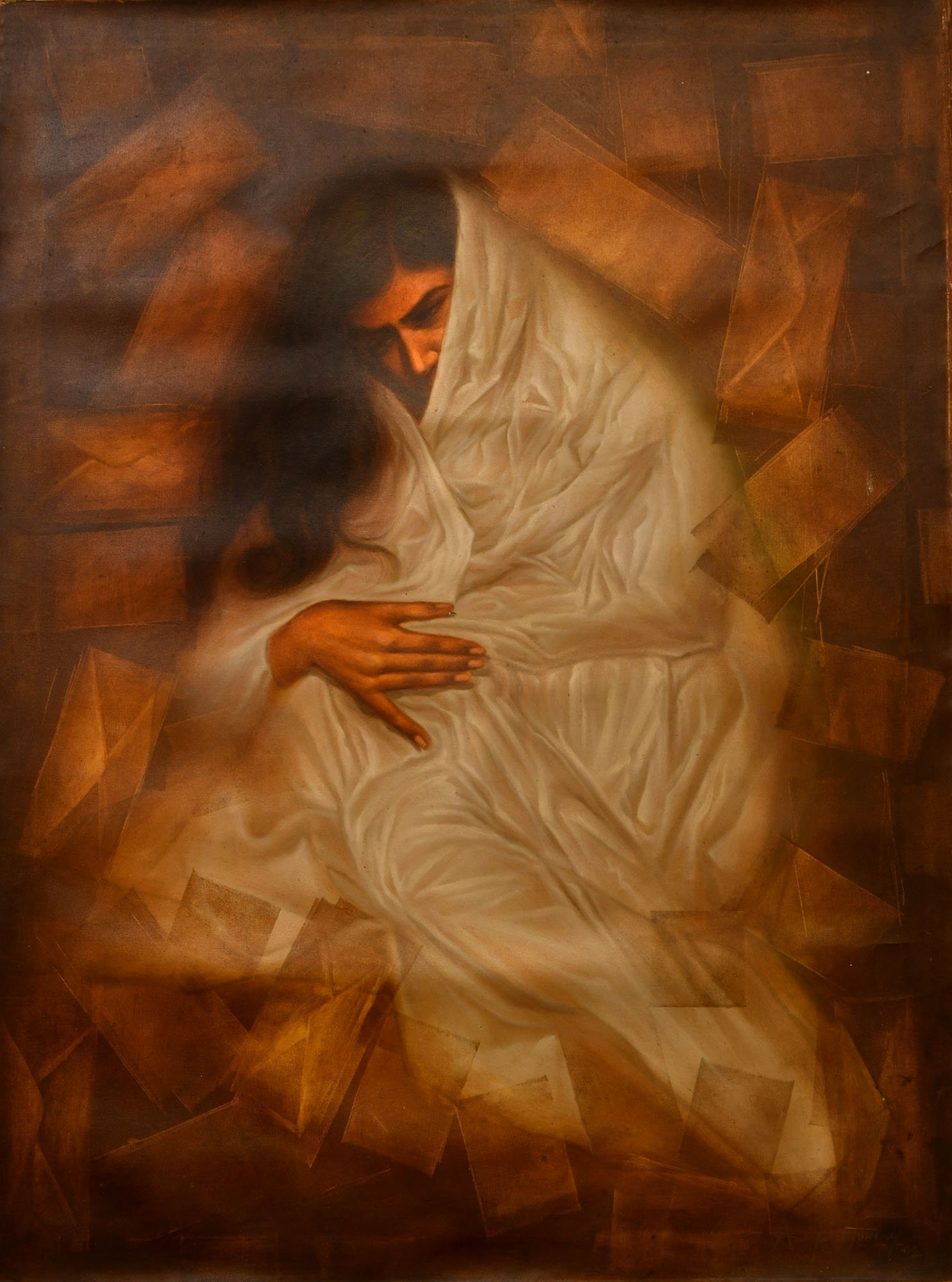 Lady Emerging from Love Letters - Oil Painting on Canvas - Artist: Anup Gomay