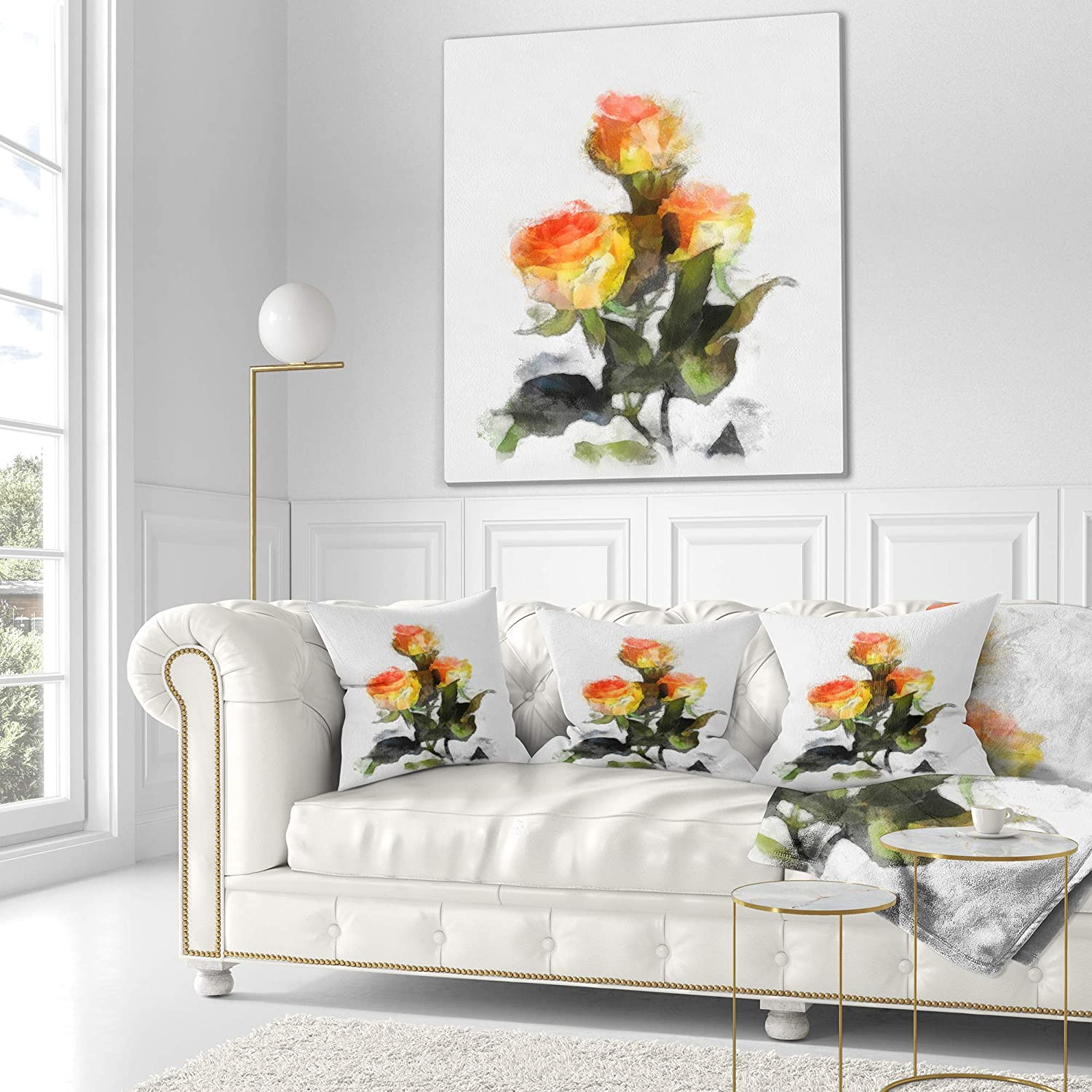 x 26 in in Designart CU13611-26-26 Hand Drawn Yellow and Red Roses Floral Cushion Cover for Living Room Sofa Throw Pillow 26 in Insert Printed On Both Side