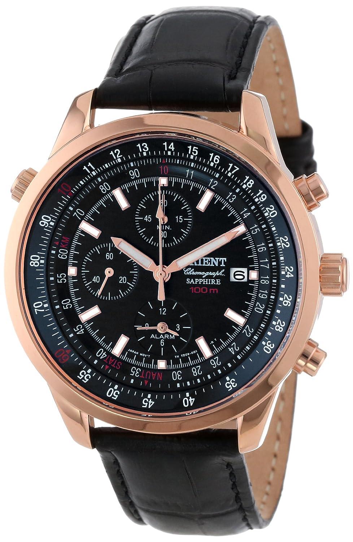 Orient Men 's ctd09004bクロノグラフwithローズゴールドトーンと日付と内部回転リングスライドルール電卓ブラック時計 B002LE7B64