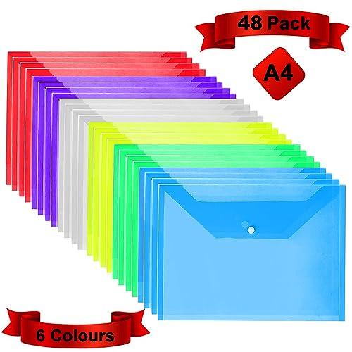 Carpeta para Documentos Pack de 48 Carpeta Plastico con Cierre a Presión Sobre Carpeta Portafolios A4 Folio Transparente Colores Variados Recibos Certificados y Volantes