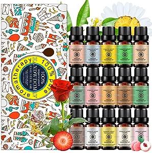 15x10ML Rose,Vanilla,Pineapple,Coconut,Jasmine,Sandalwood,Strawberry,Chamomile,Neroli,Coffee,Mango,Apple,Honeysuckle,Peach,Pine Needles Essential Oil Set, 100% Pure Organic Oil