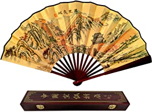 C&K Solutions Folding Hand Fan Chinese Gift Great Wall of China Large Quality Handheld Japanese Fans with Gift Box