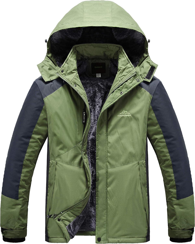 Mens Winter Fleece Lined Jacket Warm Mountain Jackets Windproof Outerwear Coats