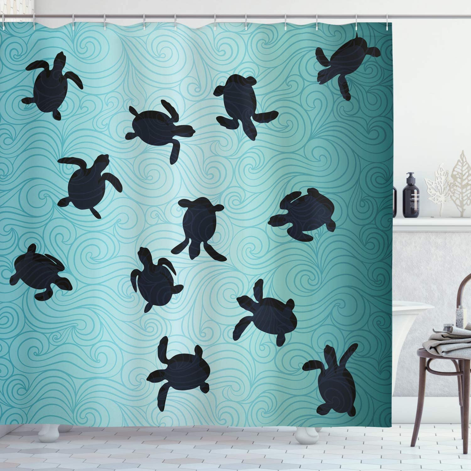 "Ambesonne Marine Shower Curtain, Baby Sea Turtles Swimming Silhouette from The Bottom of Ocean Underwater Display, Cloth Fabric Bathroom Decor Set with Hooks, 70"" Long, Teal Blue"