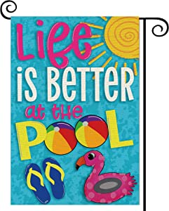Balgardekor Life is Better at The Pool Garden Flag Vertical Double Sided Burlap Summer Yard Outdoor Decor Home Decor (12.5 x 18, Pool)