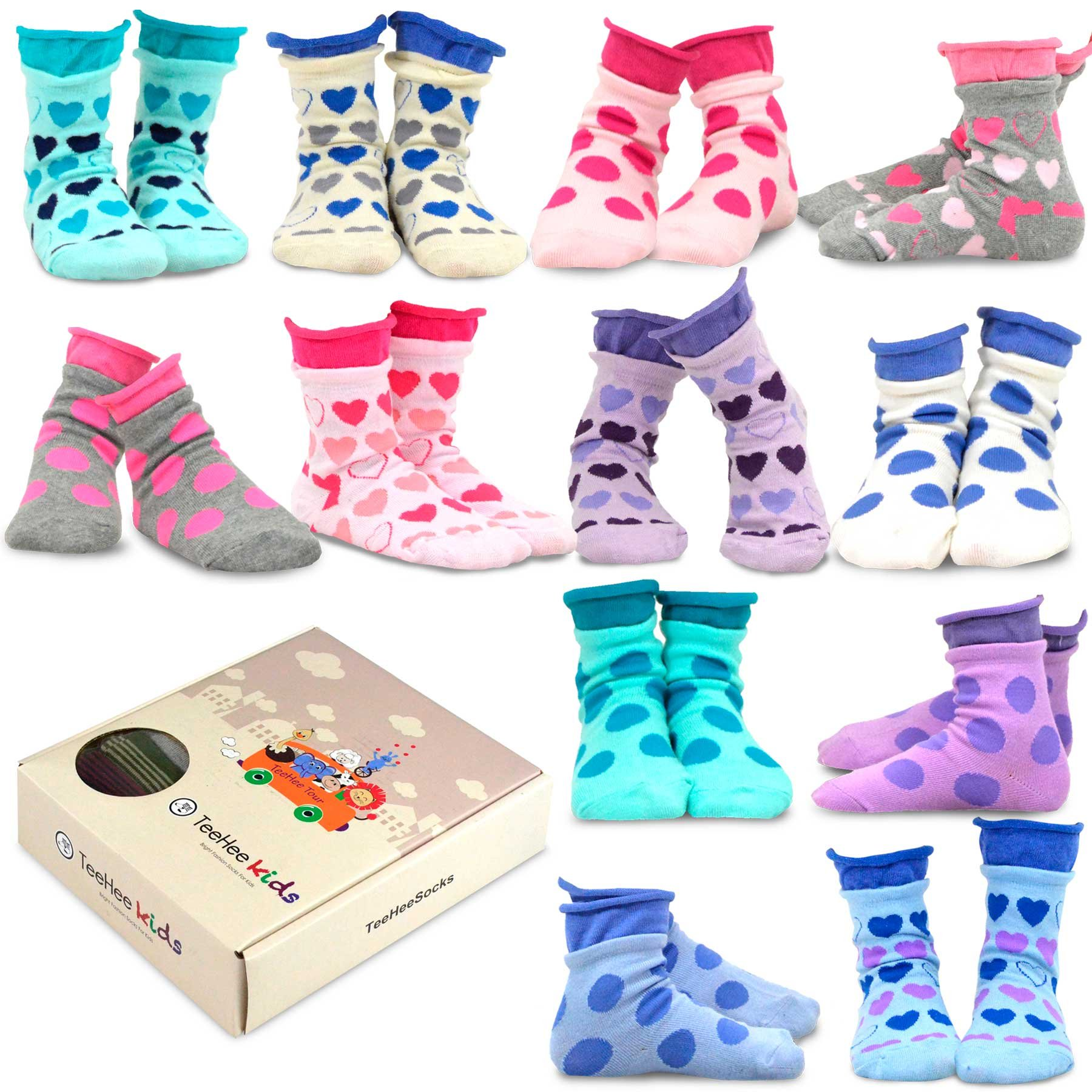 TeeHee Kids Girls Cotton Basic Crew Socks 12 Pair Pack (3-5Y, Large Dot & Hearts)