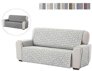 Textilhome - Funda Cubre Sofá Dante, 4 Plazas, Protector para Sofás Acolchado Reversible. Color Amarillo C/5