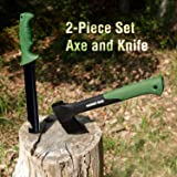 Mossy Oak Camping Hand Axe Tanto Machete Combo Kit, 14-inch Splitting Hatchet with 15-inch Full Tang Serrated Knife, Sheath Included - for Outdoor Survival, Camping and Bushcraft