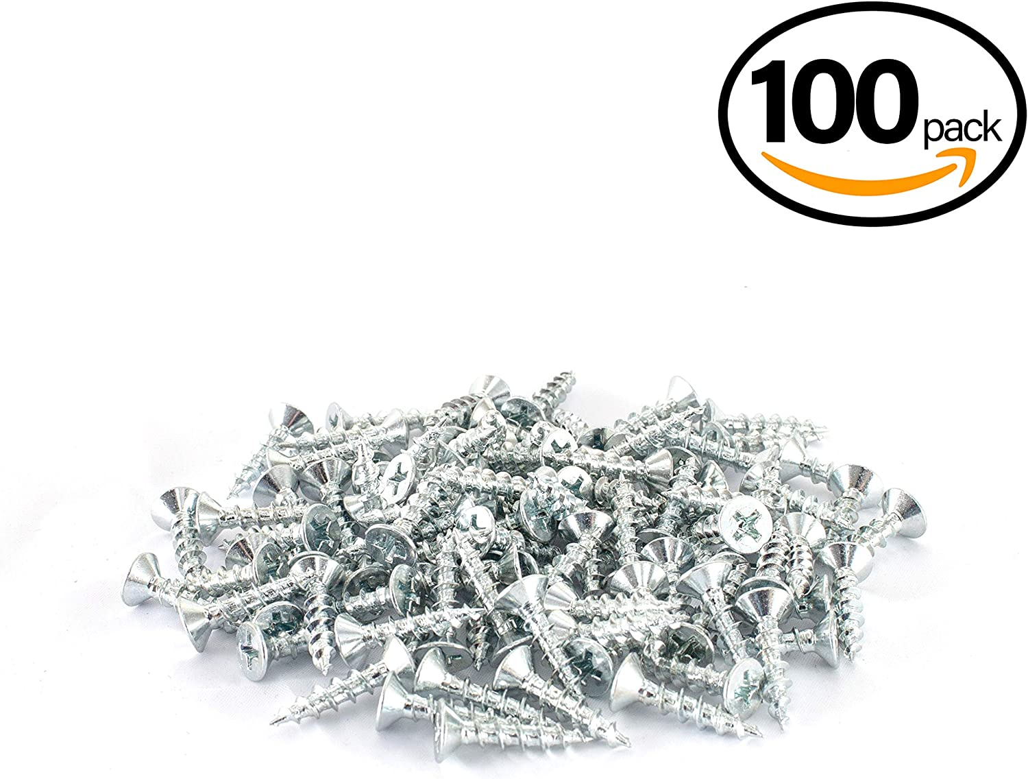 "Woodworking Screw Zinc Plated Design 100 PK POWERTEC Wood QWS1003 Phillips Flat Head #6 x 1//2/"" Deep Thread Nickel"