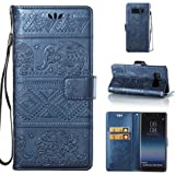 Galaxy Note 8 Case [Free Screen Protector], ESSTORE Elegant Elephant Embossing PU Leather Cases Covers with Card Slot Holder Wallet Book Design Fordable Strap Case