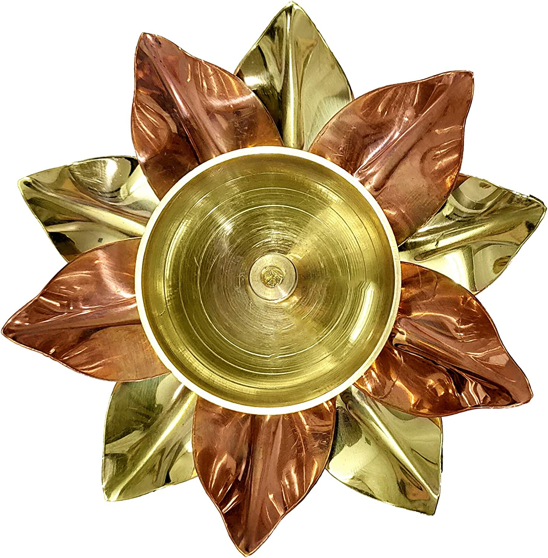 Craftsman Brass Copper Lotus Flower Petals Kamal Shape Metal Akand Diya for Traditional Indian Festive Diwali Deepawali Puja Pooja Dia Home Temple Decoration Oil Lamp Gift Items