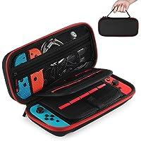 Estuche de transporte para Nintendo Switch, Lecone 20 cartuchos de juegos Estuche protector de viaje Estuche rígido de viaje Estuche para consola y accesorios de Nintendo Switch, negro y rojo