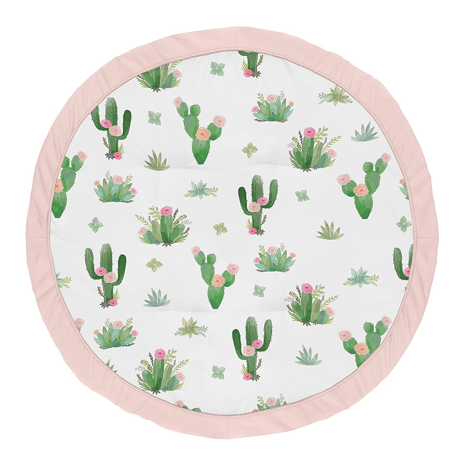 Sweet Jojo Designs Pink and Green Boho Watercolor Playmat Tummy Time Baby and Infant Play Mat for Cactus Floral Collection