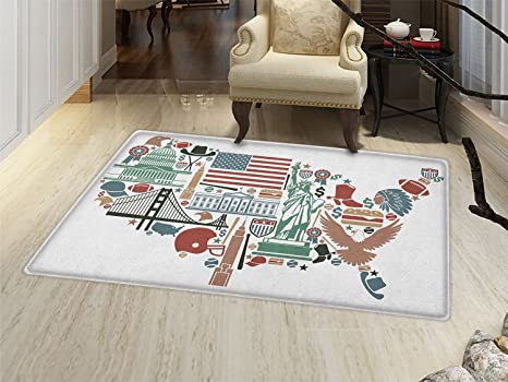 Amazoncom Smallbeefly Map Bath Mats For Floors Traditional