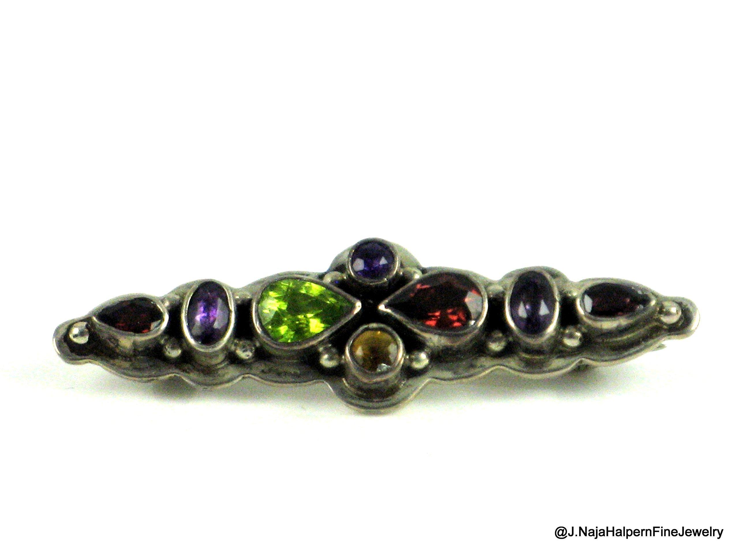 MULTI GEMSTONE PIN, STERLING SILVER PIN 925, of Super Quality Jewels, 2'' x 1/2'' TEN Gemstone Pin 925