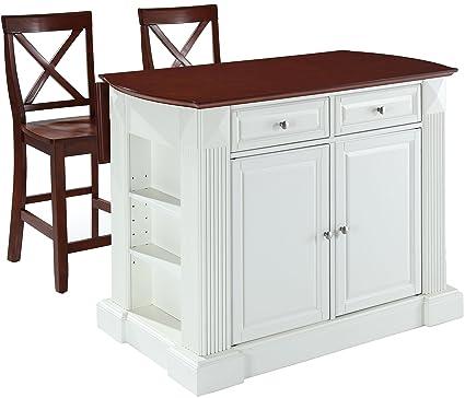 Crosley Furniture Drop Leaf Kitchen Island/Breakfast Bar With 24 Inch X Back