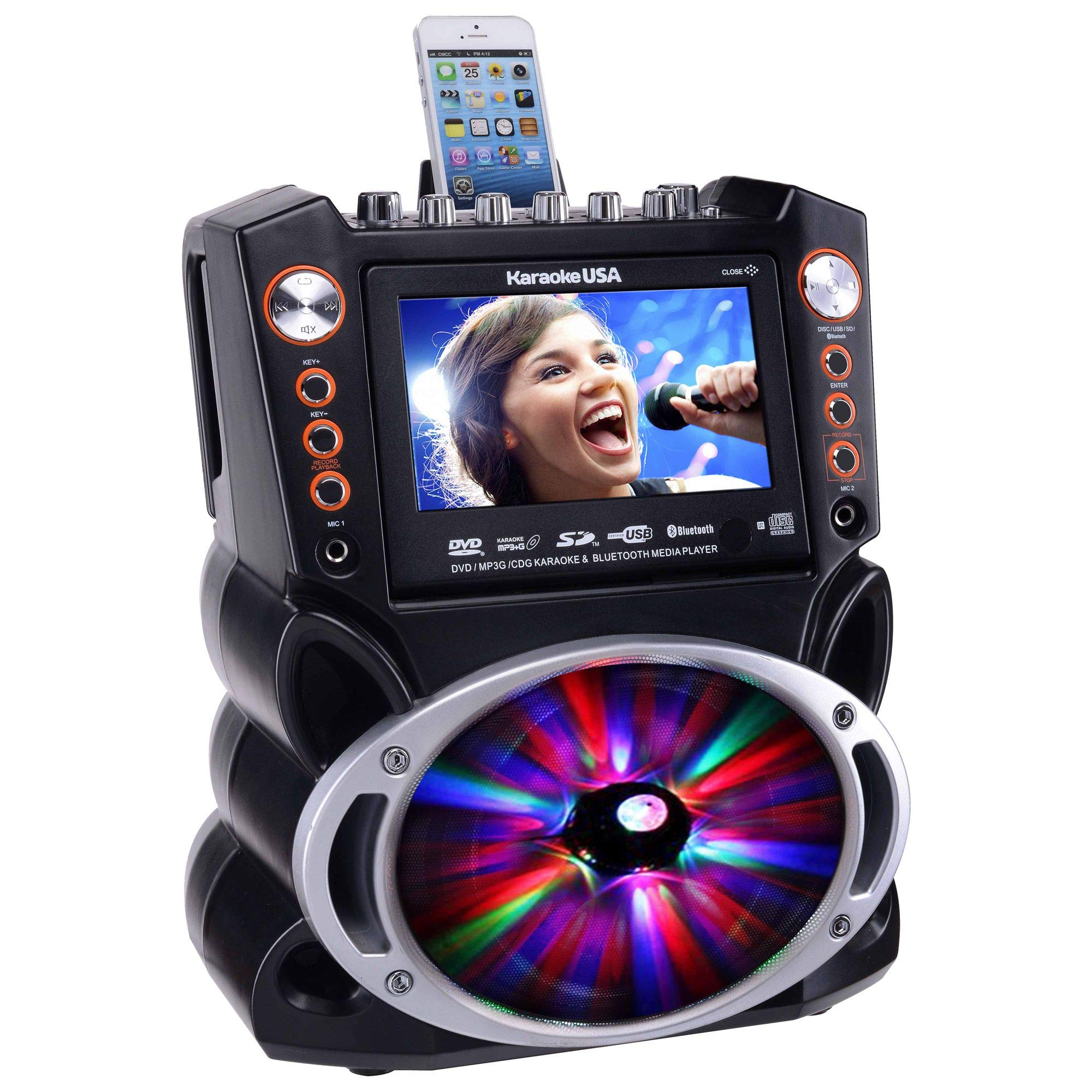 Karaoke USA GF846 DVD/CDG/MP3G Karaoke Machine with 7'' TFT Color Screen, Record, Bluetooth and LED Sync Lights by Karaoke USA (Image #4)