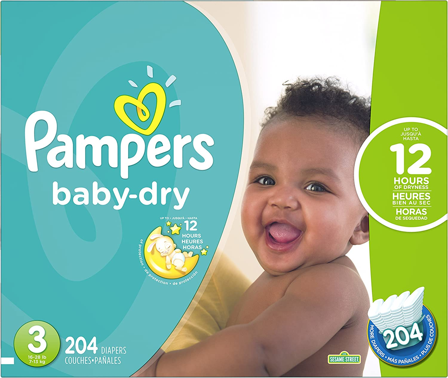 252 Count ECONOMY PACK PLUS Pampers Baby-Dry Disposable Diapers Size 1