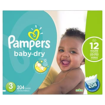 Pampers Baby-Dry Disposable Diapers Size 3, 204 Count, ECONOMY PACK PLUS ( 696246ed4f4