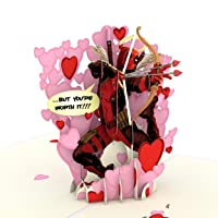 Lovepop Marvel's Deadpool Love Hurts Pop Up Card - 3D Cards, Valentine's Day Cards, Card for Husband, Card for Wife, Anniversary Card, Romance Card, Valentines Day Card for Kids