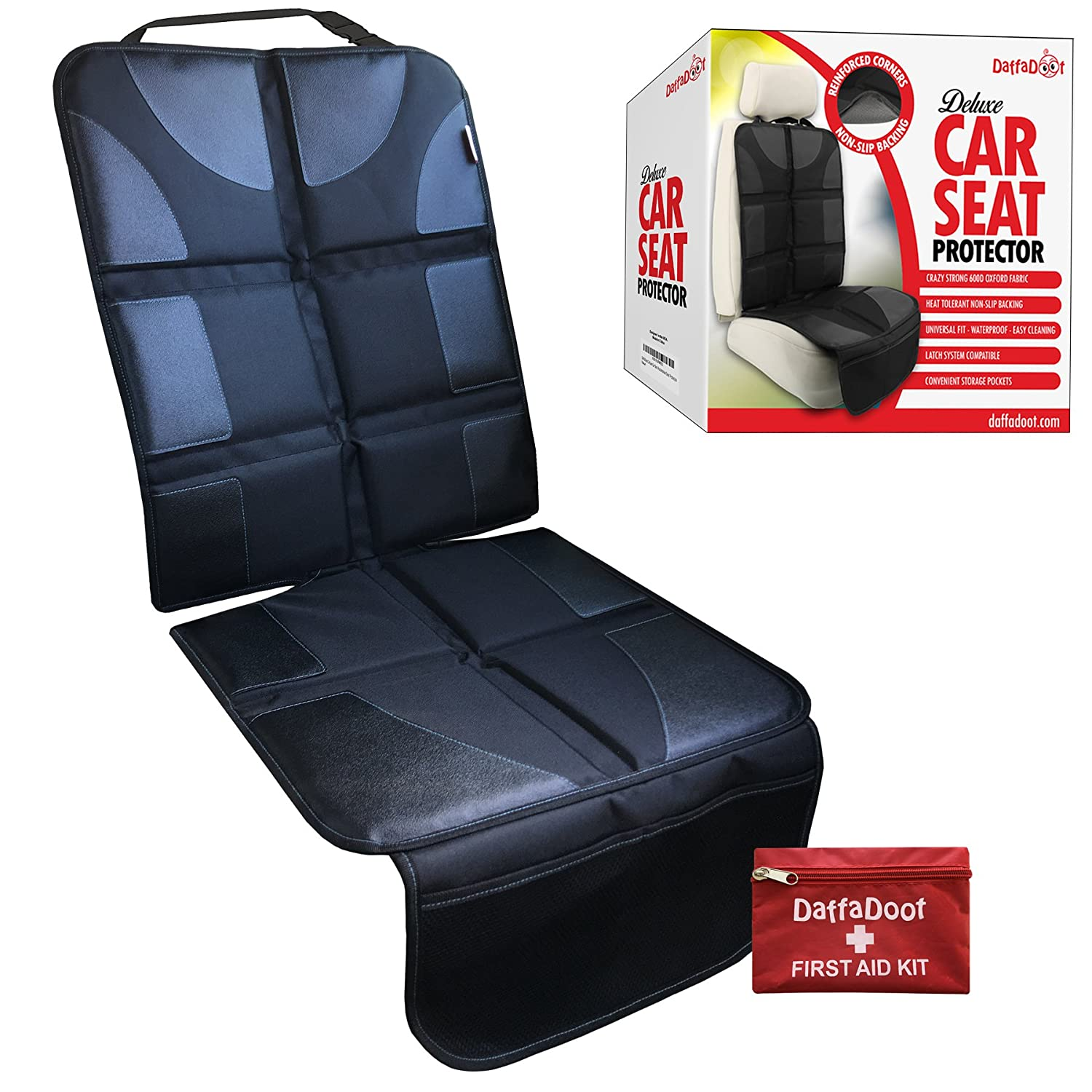 (NEW 2018) Deluxe Auto Seat Protector Fits Under Baby Car Seat or Booster- Universal Fit - Complete Heavy Duty Coverage - Waterproof Anti-Slip Color-Fast Heat Resistant - Safely & Effectively Protects DaffaDoot CSP-DLX01