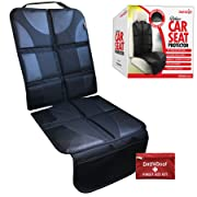 (NEW 2018) Deluxe Auto Seat Protector Fits Under Baby Car Seat or Booster- Universal Fit - Complete Heavy Duty Coverage - Waterproof Anti-Slip Color-Fast Heat Resistant - Safely & Effectively Protects