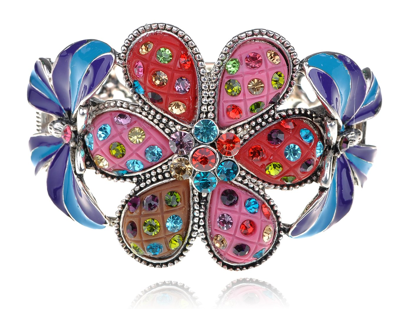 Alilang Multicolor Blue Enamel Floral Big Flower Twin Butterfly Insect Bangle Cuff Bracelet by Alilang (Image #1)
