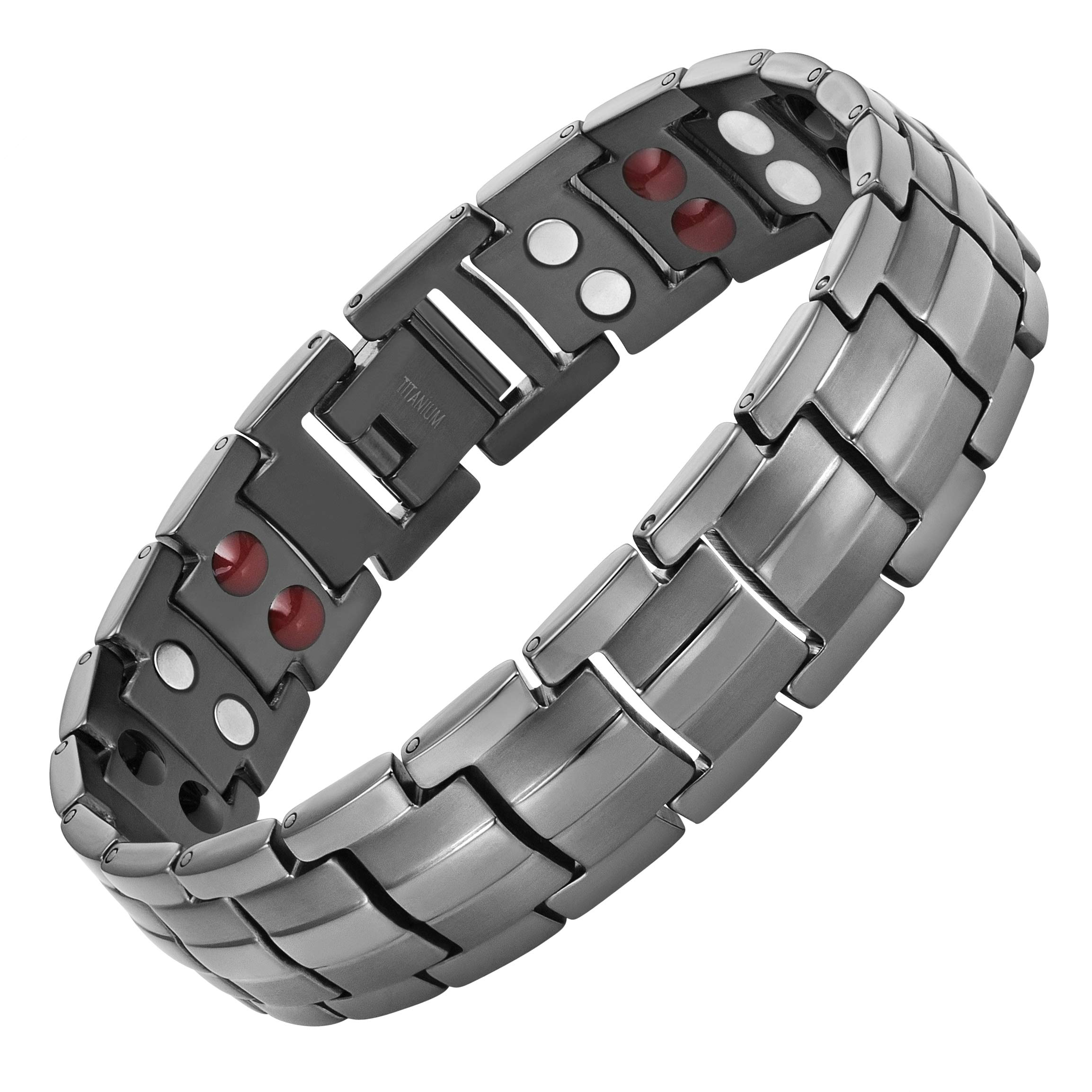 Willis Judd Double Strength 4 Element Titanium Magnetic Therapy Bracelet for Arthritis Pain Relief Gunmetal Colour Adjustable