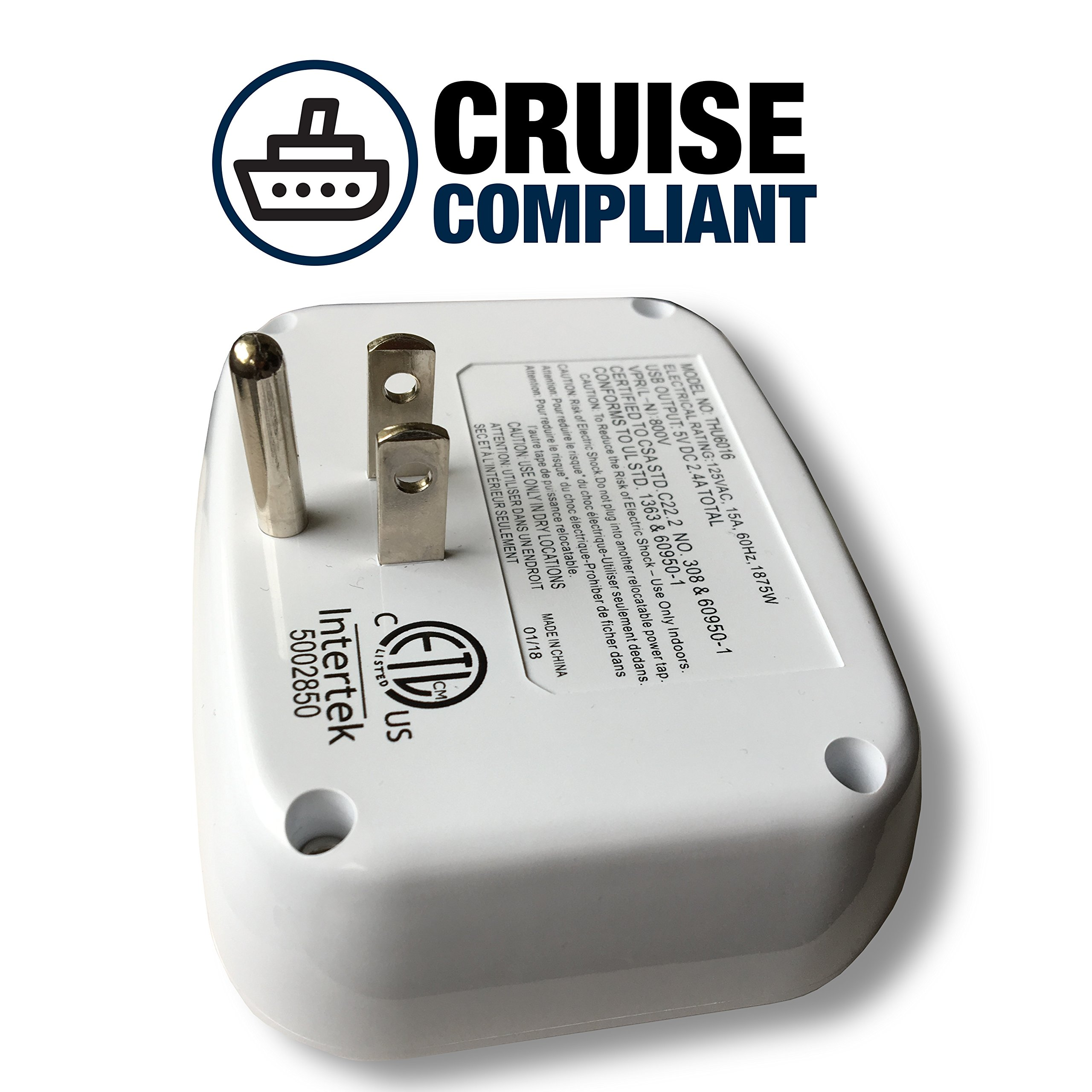 Cruise Power Strip with USB Outlets - Non Surge Protection - Cruise Ship Approved by Cruise On (Image #2)
