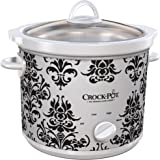 Crock-Pot 3-Quart Manual Slow Cooker White Black Damask
